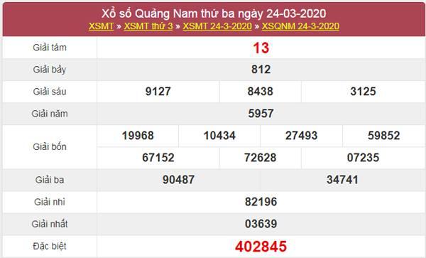 Soi cầu XSQNM 31/3/2020 - KQXS Quảng Nam thứ 3
