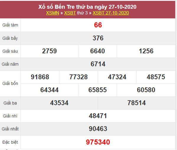Soi cầu KQXS Bến Tre 3/11/2020 thứ 3 tỷ lệ trúng cao nhất