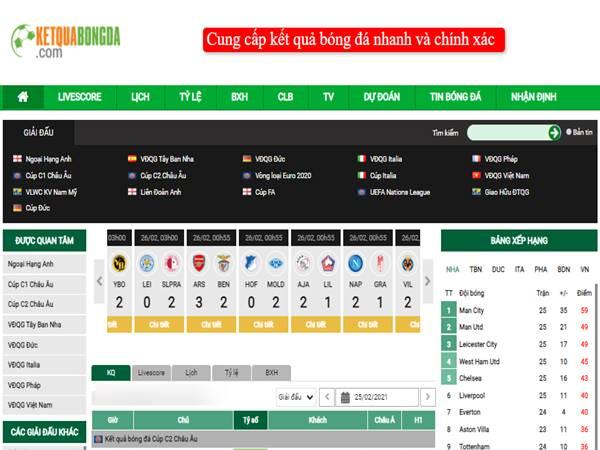Top Website xem tỷ số bóng đá - Kqbd nhanh nhất