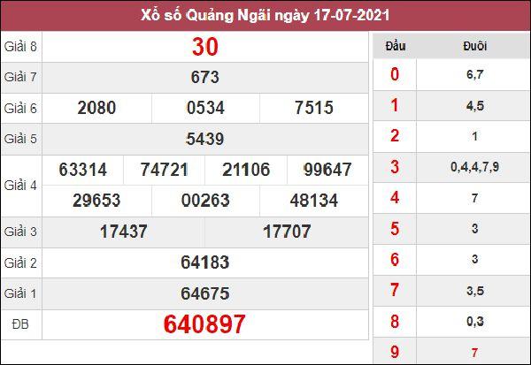 Soi cầu XSQNG 24/7/2021 chốt bạch thủ lô Quảng Ngãi thứ 7